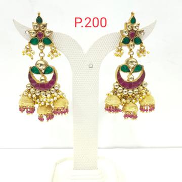 Gold Plated Red & Green Stone Kundan Work Three Jhumka Earring 1545