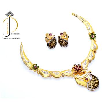 916 / 22ct Gold Special Occasional Antique Necklace set with Earring for women STG0025