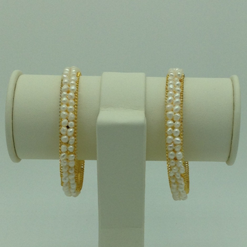 White Seed Pearls 2 Layers AC Bangles JBG0080