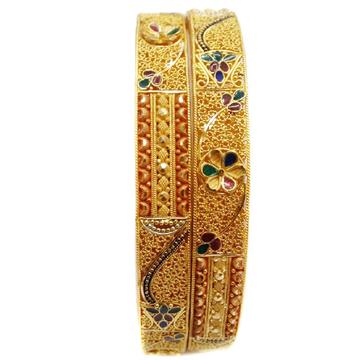 22k Gold multiple Meenakari flower shape Bangles MGA - GP048