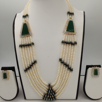 White cz and green semi precious stone broach set with 6 lines flat pearls mala jps0441