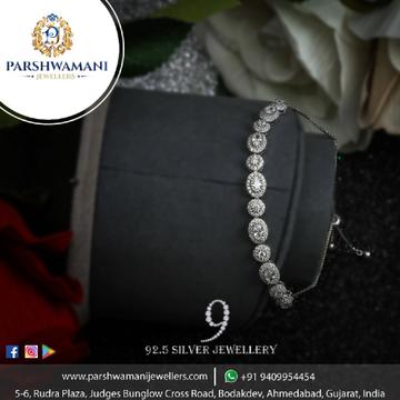 92.5 Sterling Silver Cz & White Stone Adjustable Brecelet For Women