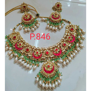 Pink and white colour stone heavy necklace set1077