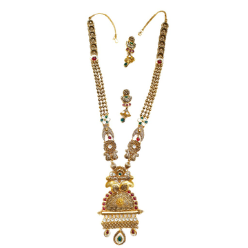22kt Gold Antique Rajwadi Necklace With Earrings MGA - GLS073