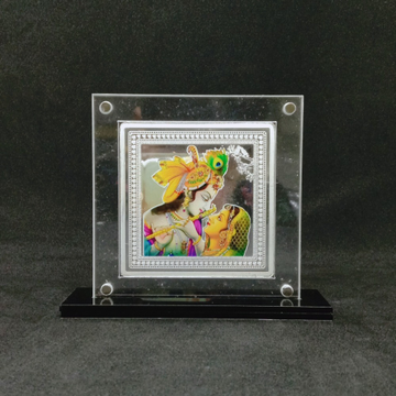 real Silver Designer Coin of Radha Krishna in Color Printing by puran