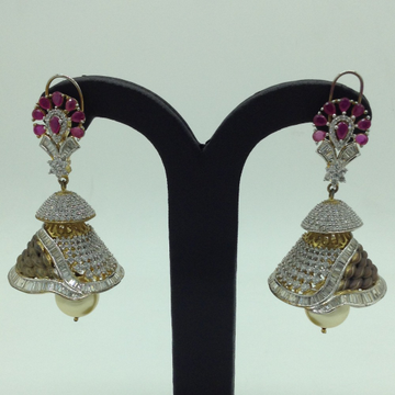 White and Red CZ Stones Ear Jhumki JER0026