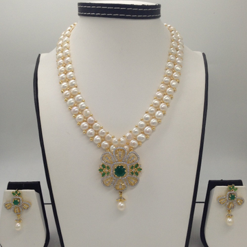 White, GreenCZ And Pearls PendentSet With 2Line ButtonJali Pearls Mala JPS0261
