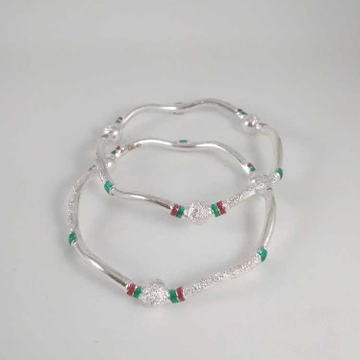 Silver Fancy Zig Zag Bangles. NJ-B01033