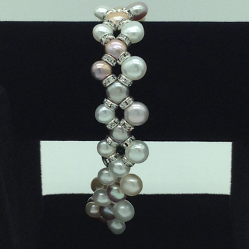 Multi Colour Button ZigZag Pearls And CZ Chakri 3 Layers Bracelet JBG0097