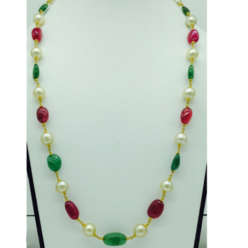South sea pearls with ruby;emerald tumbles gold ta...