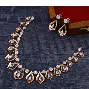 18Ct CZ  Delicate Diamond  Rose Gold Necklace Set RN171