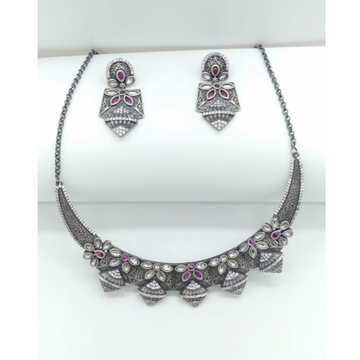 925 Oxidized Silver Pink Stone Necklace Set VJ-N002