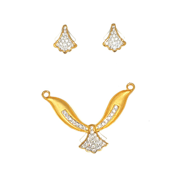22K Gold Modern Mangalsutra Pendant With Earrings MGA - PTG0108