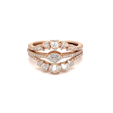 Stackable diamond ring with pear round & marquise...