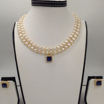 White And BlueCZ PendentSet With 2Line ButtonJali Pearls Mala JPS0387