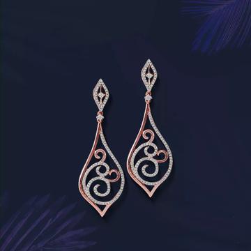 18Kt Rose Gold Emerald Earring for Women