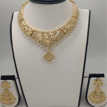 Freshwater White Button Pearls Amritsar Necklace S...