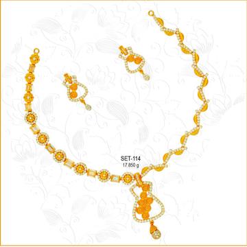 22KT Gold Attractive CZ Bridal Necklace Set-114