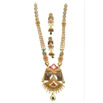 22k Gold Antique Rajwadi Necklace With Jummar Buti MGA - GLS086