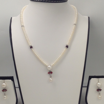 White, Brown CZ And Pearls PendentSet With FlatPearls Mala JPS0096