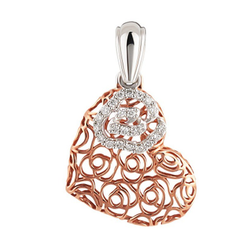 22kt gold and diamond heart cutout pendant for women jkp008