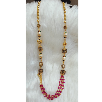22 KT RED MOTI ANTIQUE MALA by