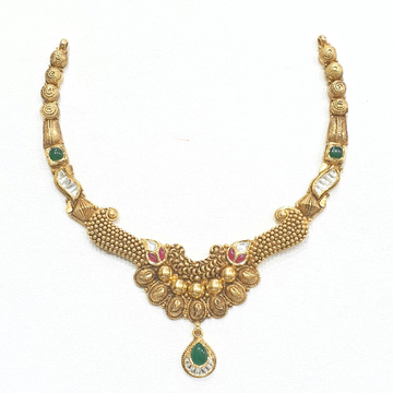 916 gold antique necklace set mga - gn006