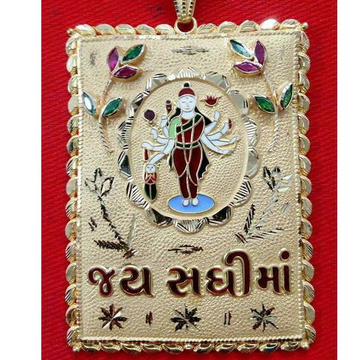 22KT Gold Antique Sadhi Maa Meenakari Pendant