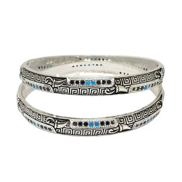 925 Sterling Silver Oxidised Kadli Bangles MGA - KDS2498