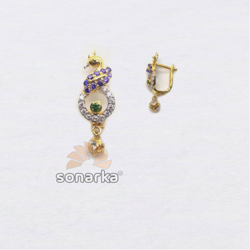916 Gold Fancy Peacock Design CZ Diamond Hoop Earring