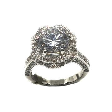 925 Sterling Silver Round Cut Solitaire Diamond Ri...