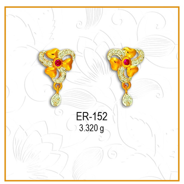 916 CZ Gold Flower Shape Earring ER-152