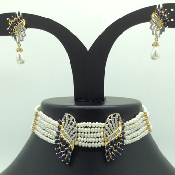 White and Blue CZ Choker Set With 5 Line Flat Pear...