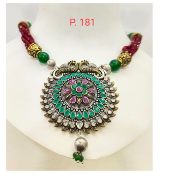 oxidised pink & green stone Necklace set with Red Moti string 1662