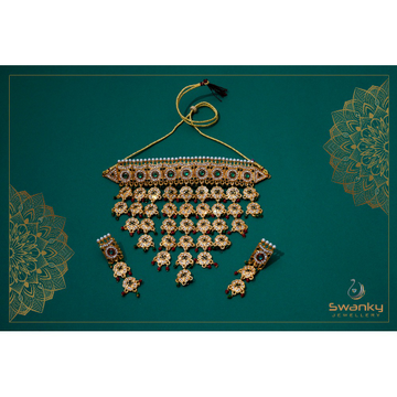 Attractive necklace set with colorful beads & chat... by Swanky Jewellery