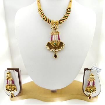 22KT Gold Antique Purple Beaded Bridal Necklace Set RHJ-3400