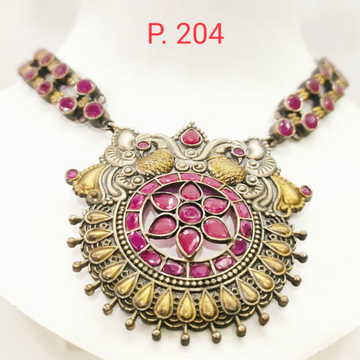 oxidised silver with Gold plated choker Necklace set with Pink stone 1665