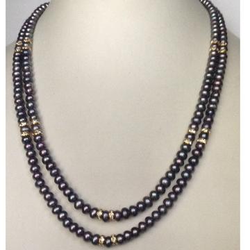 Freshwater Grey Flat Pearls Necklace 2 Layers with CZ Chakri