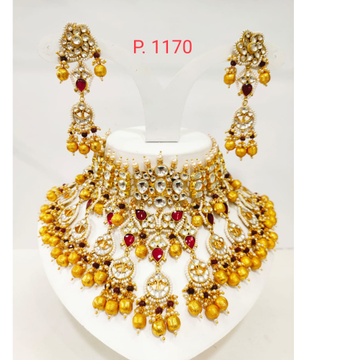 Hanging golden beads and choker antic jadtar work Necklace  1235