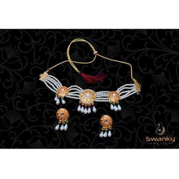 Attractive White Pearl Moti Set With Glass Beads &... by Swanky Jewellery