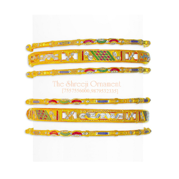 22KT Gold Colorful 6 Pairs Rajasthani Chudi - 002