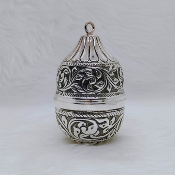real Silver Nariyal in Antique Carvings for Pujan...