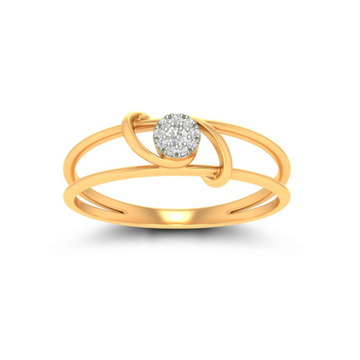 22kt, 916 hallmark, Gold and diamond curving ring for women JKR0817