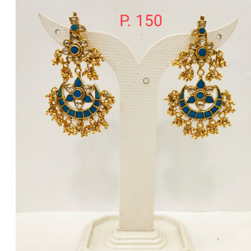 Moon Shape Gold plated Blue stone earring with hanging Pearl  1700