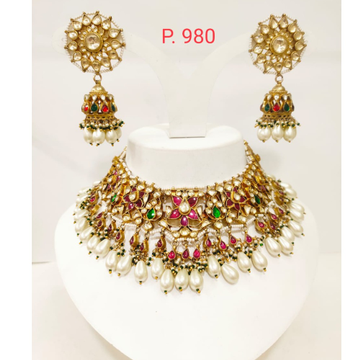Star and full hand work design with emerald , ruby with white hanging beads 1239