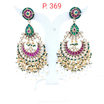 Moon style full ruby stone work kundan earrings  1557