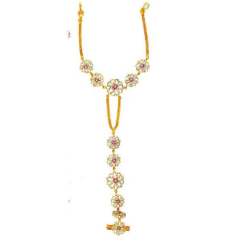 916 Attractive Gold Ladies Flower Design Hathpan