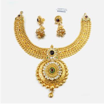 916 Gold Traditional Bridal Necklace Set RHJ-0003