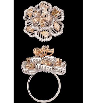 Diamonds and CitrineRingJSJ0103