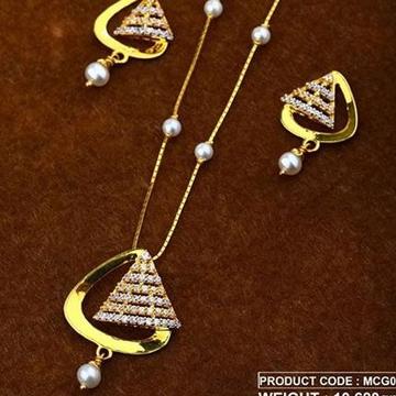 22Kt Gold Peral Chain Pset RH-Pset49